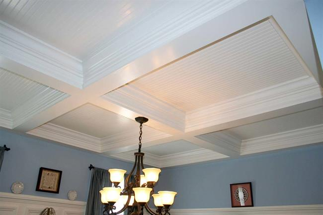 Coffered Ceiling Adds Dimensional Effect to Your New Modular Home in Hingham, MA